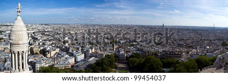 Paris skyline viewed from the roof of the Sacre Coeur Cathedral