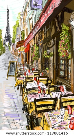 Paris street illustration