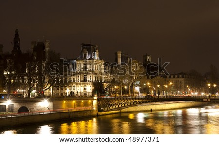 Paris, the City Hall at night - stock photo