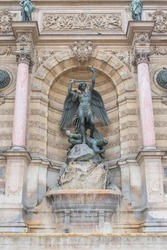 Paris, the Saint-Michel fountain, famous place in the french capital