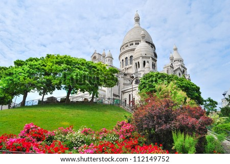 Paris. The top of the hill  Montmartre and the basilica Sacre Coeur
