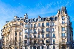 Paris, typical buildings boulevard Raspail, beautiful facades