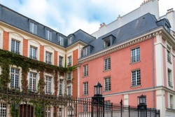 Paris, typical buildings in the Marais, in the center of the french capital