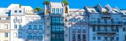 Paris, typical facades, beautiful buildings in the Marais