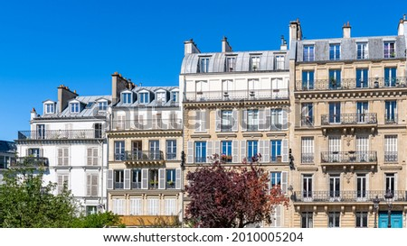 Paris, typical facades, beautiful buildings with old zinc roofs, rue Fenelon Photo stock ©