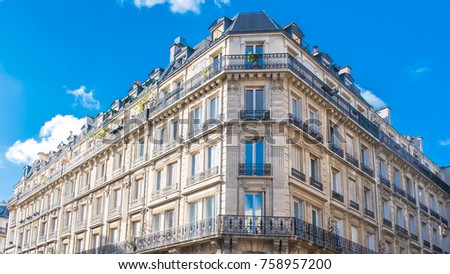 paris  typical facades in the...