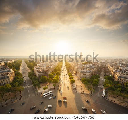 Paris view from Arc de Trimphe