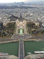paris view from effiel tower looking down onto the city below during winter 2013