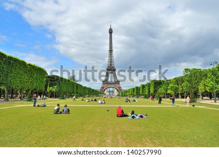 Paris View of Champ de Mars and the Eiffel Tower in a sunny summer day