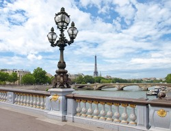 Paris view with Eiffel tower from Bridge of Alexandre III