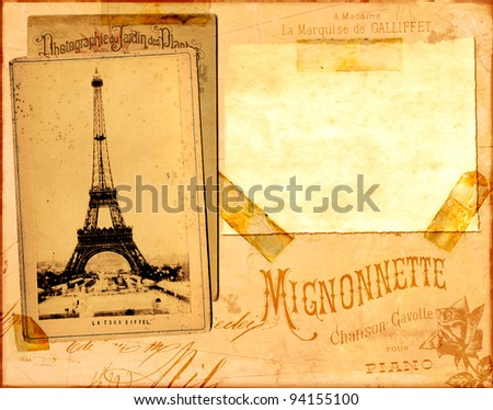 Paris - Vintage paper background with place for your text