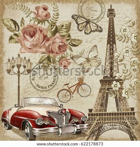 Paris vintage postcard.