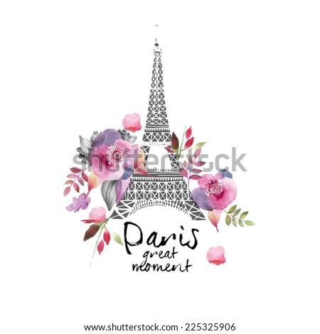 Paris watercolor illustration Paris great moment