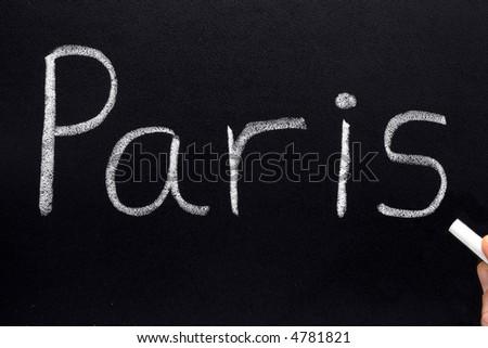 Paris, written on a blackboard.