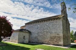 Parish church of San Juan evangelista 12th century Romanesque style in the town of Arroyo de la Encomienda, Valladolid, Spain