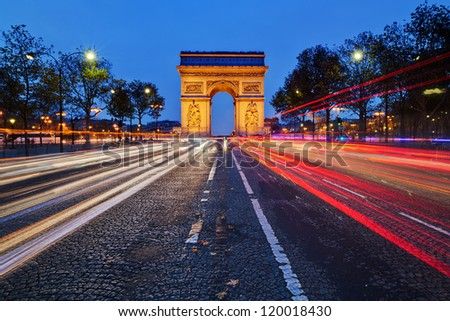 Parisian arc de Triomphe by night
