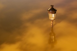 parisian lamp post under underwater