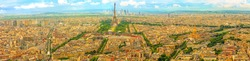 Parisian panorama aerial view of Paris skyline with the Tour Eiffel tower and national residence of the Invalids palace. Top of the Tour Montparnasse tower of Paris city, in France.