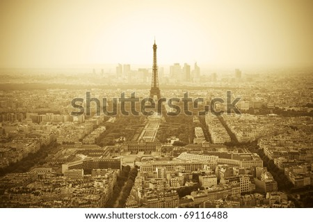 Parisian skyline with Eiffel Tower (Tour Eiffel) - Sepia toned image