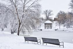 Park after snow storm, Boston