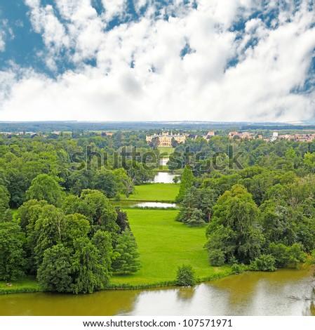 Park and chateau Lednice, Czech Republic, Lednice-Valtice Cultural Landscape, World Heritage Site by UNESCO - stock photo