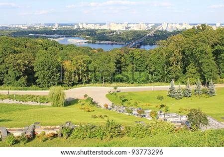 Park and panorama of Kiev, Ukraine
