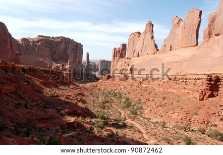 Park Avenue at Arches National Park in Utah, USA