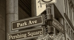 Park Avenue Pershing Square street signs in New York.