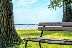 Park bench besides Palic lake in Serbia / Brown park bench still in excellent condition, used by the people who are walking beside Palic lake. Photo was taken on a sunny day, about noon.
