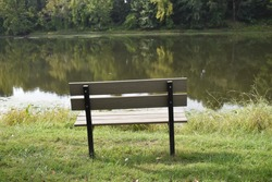 Park bench by a lake