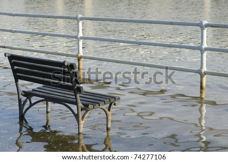 Park Bench in flood water
