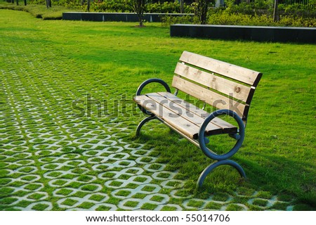 Park bench  in sunset.
