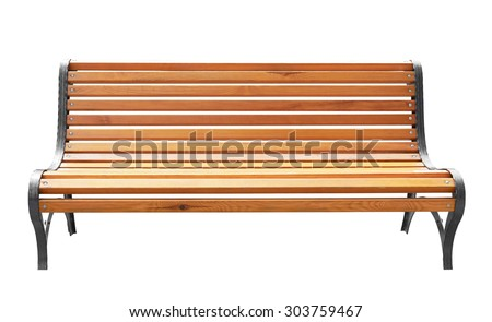 Park bench isolated over a white background - Shutterstock ID 303759467