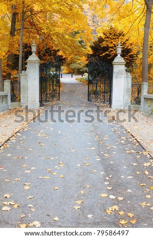 Park gates in fall