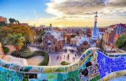 Park Guell, Barcelona at sunset