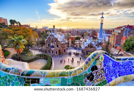 Park Guell, Barcelona at sunset ストックフォト ©