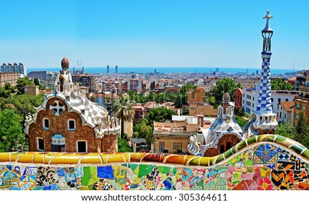 Photo of  Park Guell by architect Antoni Gaudi in Barcelona, Spain