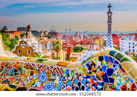 Photo of  Park guell colors in Barcelona, Spain.
