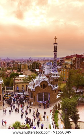 Park Guell  designed by Antonio Gaudi, Barcelona, Spain