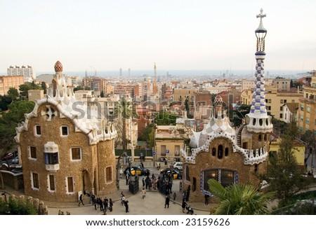 Park Guell in Barcelona (Spain), designed by Antoni Gaudi