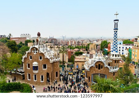 Park Guell is a garden complex with architectural elements situated on the hill of El Carmel in the Gracia district of Barcelona, Catalonia, Spain.