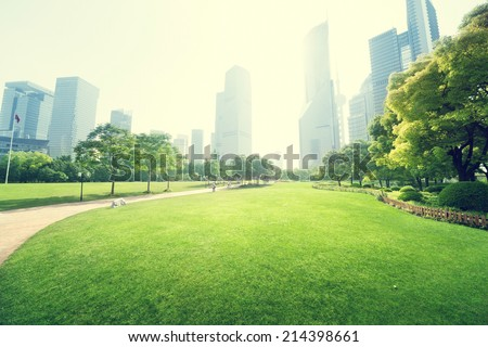 park in  lujiazui financial centre, Shanghai, China ストックフォト ©