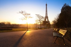 park in Paris near Eiffel tower early morning, France