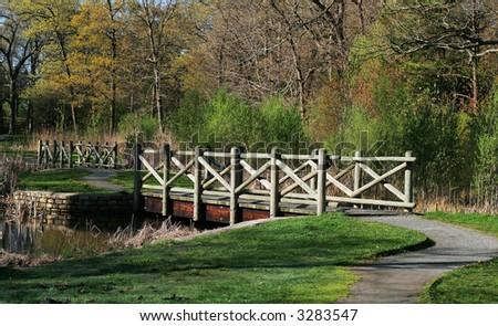 park landscape with bridge