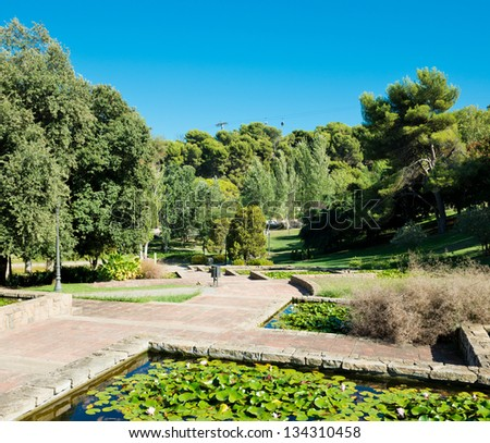 park on hill Montjuic in Barcelona. Spain