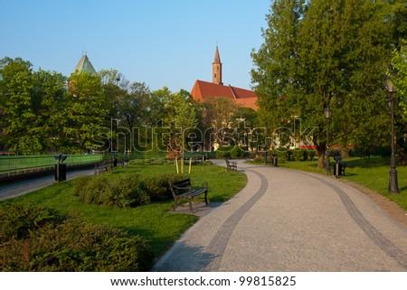 Park on Piasek isle, Wroclaw, Poland. Zdjęcia stock ©