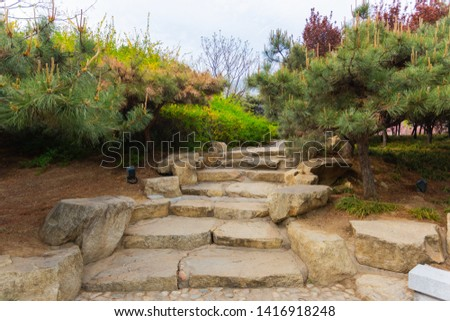 Park outdoor walking stone steps green plants #1416918248