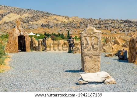 park reserve Gobustan in Azerbaijan with ancient rock petroglyphs