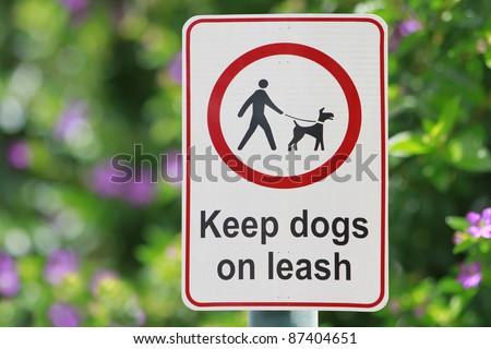 Park Sign: Keep Dogs on Leash