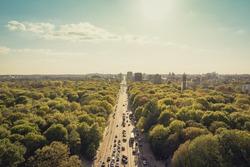 park, street and city skyline -  Berlin, Germany